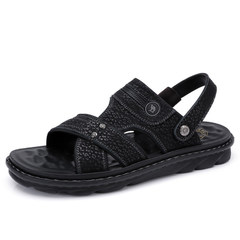 駱駝男鞋 2018夏季新品透氣牛皮涼鞋男舒適耐磨真皮休閑涼拖皮鞋