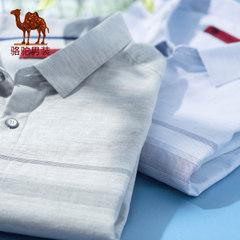 骆驼男装 男短袖衬衫夏季新款衬衣青年条纹上衣纯棉修身短衫薄款