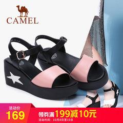 骆驼平底凉鞋女式时尚松糕鞋2018夏季新款厚底坡跟高跟鞋原宿百搭
