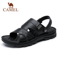 Camel/骆驼男鞋2018夏季商务时尚牛皮两穿凉拖鞋休闲柔软皮凉鞋男