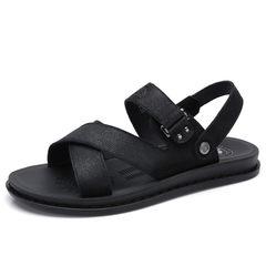 骆驼男鞋 2018夏季新款时尚牛皮凉鞋 男休闲轻便凉拖两穿鞋沙滩鞋