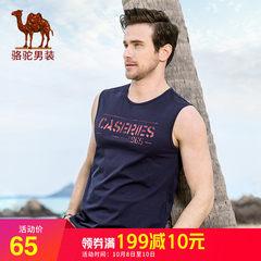 骆驼夏季新款短袖男T恤无袖背心休闲小背心纯色社会小伙短袖2018