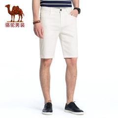 骆驼男装 2018年夏季新款男青年休闲五分裤 中腰微弹直筒牛仔裤