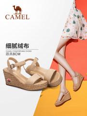 骆驼女鞋 2018夏季新款坡跟凉鞋 厚底百搭女式凉鞋时尚高跟鞋子