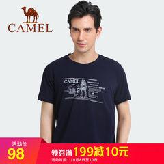 骆驼户外运动2018春夏新款男T恤透气干爽柔软舒适趣味印花棉短袖