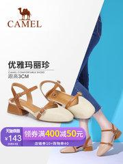 駱駝女鞋 2018夏季新款仙女鞋 包頭粗跟舒適一字帶復古百搭涼鞋女