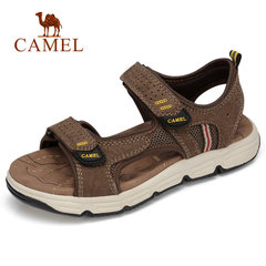 CAMELyabo sports app户外凉鞋休闲运动真皮时尚按摩垫脚 男款防滑减震沙滩鞋