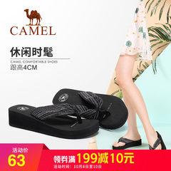 駱駝人字拖女夏時尚外穿涼拖百搭坡跟軟底拖鞋2018夏新款平底簡約