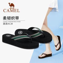 骆驼人字拖女夏时尚外穿拖鞋夹趾厚底凉拖2018新款女士坡跟夹脚拖