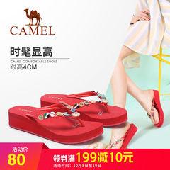 骆驼2018夏新款拖鞋女夏时尚外穿软底厚底凉拖简约个性平底人字拖