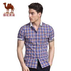 骆驼&熊猫联名系列男装薄款青年修身尖领时尚格子纯棉短袖衬衫男