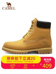 【2018秋冬新品】骆驼户外大黄靴男女高帮防滑牛皮系带休闲马丁靴