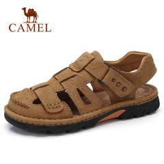 CAMEL駱駝戶外男鞋 涼爽真皮包頭護趾簡便縫線沙灘厚底休閑涼鞋男