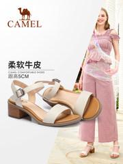 骆驼女鞋2018夏季新款一字扣带真皮高跟凉鞋 韩版休闲粗跟凉鞋 女