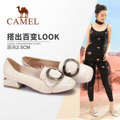 骆驼女鞋 2018春季新款 休闲舒适低跟女鞋圆扣方头方跟浅口单鞋女