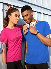 骆驼运动T恤男女短袖速干夏季圆领 跑步健身服快干吸湿情侣休闲衫