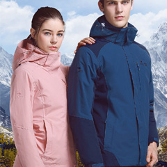 【第2件半价】骆驼8848系列冲锋衣男女款加绒三合一两件套登山服