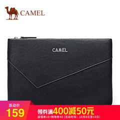 骆驼男包  新款男士牛皮手拿包横款钱包手包青年商务信封手抓包男