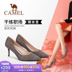 骆驼女鞋 2018秋季新款 英伦韩版格纹典雅复古尖头复古高跟女单鞋