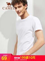 骆驼男装 短袖t恤男夏季 韩版纯棉宽松纯色体恤2018新款圆领上衣
