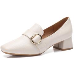 骆驼2018夏秋季新款黑色皮鞋女中跟粗跟妈妈鞋子女鞋方头复古单鞋