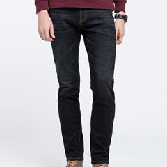 骆驼男装 2018秋季新款休闲黑色牛仔裤中腰微弹直筒男士青年长裤
