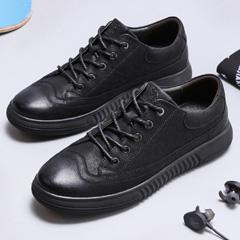 骆驼男鞋2018秋季新款休闲皮鞋真皮英伦休闲鞋潮流小黑鞋韩版板鞋