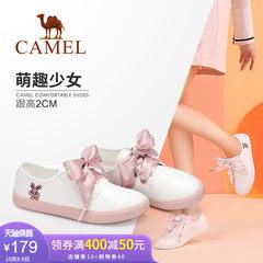 骆驼女鞋 2018新款秋韩版百搭甜美可爱卡通丝带学生平底小白鞋女