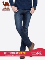 骆驼男装 2018秋季新款中腰弹力直筒牛仔裤青年休闲水洗长裤子男