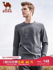 骆驼男装 2018秋季新款时尚圆领纯色字母长袖上衣男青年休闲t恤衫