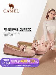 骆驼女鞋2018新款秋季甜美休闲平底单鞋韩版百搭舒适软底豆豆鞋女