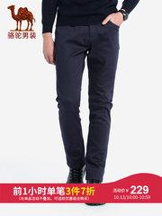 骆驼男装 2018秋冬新款男青年弹力直筒长裤子 纯色商务中腰休闲裤