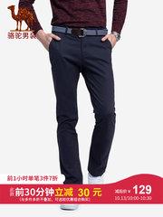 駱駝男裝 2018秋冬新款青年純色休閑褲舒適微彈中腰直筒長褲子男