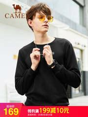 骆驼男装2018秋季新款韩版纯色宽松圆领长袖T恤潮流套头卫衣男