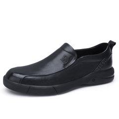 骆驼男鞋2018秋季新款休闲皮鞋英伦潮流牛皮鞋防滑套脚商务休闲鞋