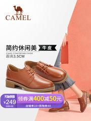 骆驼女鞋2018新款鞋子女秋季小皮鞋小跟鞋系带韩版百搭真皮女单鞋
