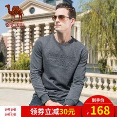 骆驼男装 2018秋季新款休闲潮流青年纯色圆领长袖T恤男打底衫加厚