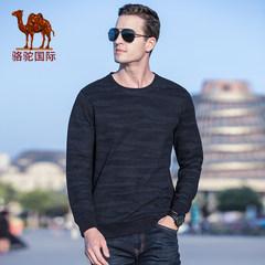骆驼男装2018秋冬新款时尚休闲潮流青年圆领暗纹印花长袖硬朗卫衣