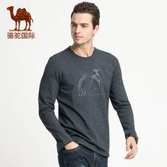 駱駝男裝 2018秋季新款時尚潮流青年純色印花圓領長袖T恤男打底衫