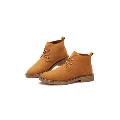 駱駝女鞋小短靴女2018新款冬秋季裸靴子英倫風學生韓版百搭馬丁靴
