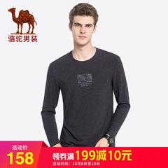 骆驼男装 2018秋季新款印花长袖t恤青年男士纯色圆领打底衫上衣服