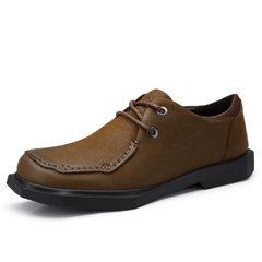 骆驼男鞋2018秋季新款青年复古男士休闲皮鞋防滑工作鞋系带牛皮鞋
