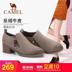 骆驼2018秋冬新款时尚单鞋女反绒磨砂皮圆头粗跟侧拉链黑色深口鞋