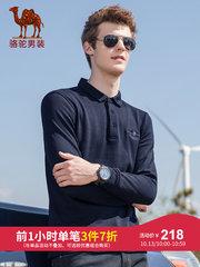駱駝男裝 2018秋季新款青年長袖翻領綉標水洗純色休閑針織布T恤男