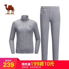 骆驼户外 2018秋季新款时尚立领休闲服 女款跑步运动卫衣裤两件套