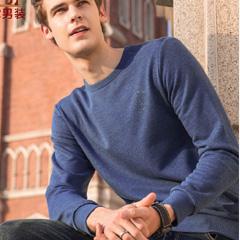 骆驼男装 2018秋季新款男士青年长袖舒适圆领纯色花纱休闲卫衣潮