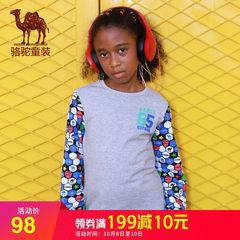 骆驼童装秋季儿童长袖T恤男青少年纯棉休闲运动圆领打底衫拼接潮
