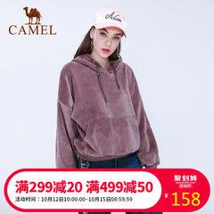 2018新款骆驼运动卫衣女装秋宽松舒适透气针织带帽长袖套头休闲服