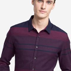 骆驼男装 2018秋季新款男士青年舒适长袖尖领修身条纹商务衬衫男