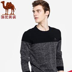 骆驼男装 2018秋季新款青年圆领套头上衣时尚花纱撞色休闲卫衣男